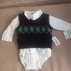 Baby dress shirt onesie with sweater vest